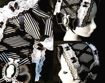 Stripe lolita headdress - classic gothic headband bonnet fascinator