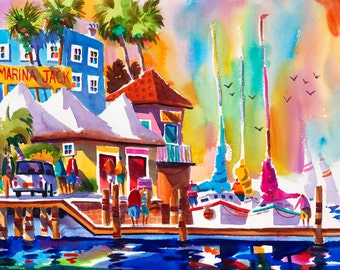 Colorful Sailboat Painting, Boat Art, Sailboat Watercolor Print, Sarasota, by Ellen Negley, Boat Watercolor Print, 11 x 14, 16 x 20, 20 x 24