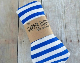 baby neckties, toddler neckties, boy neckties, adjustable ties -blue and white stripes  (ages 6 months - 8 years)