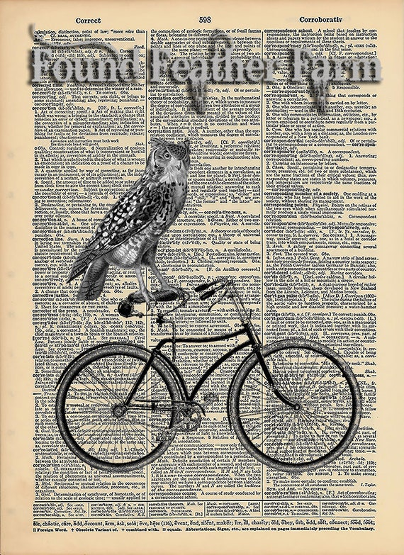 "Vintage Antique Dictionary Page with Antique Print ""Owl On Bicycle"""