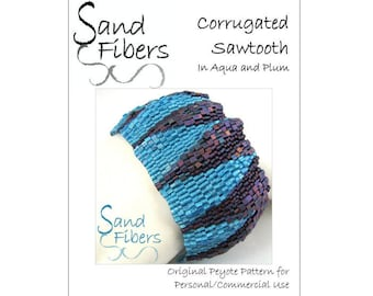 Corrugated Sawtooth in Aqua and Plum Peyote Cuff / Bracelet  - A Sand Fibers For Personal/Commercial Use PDF Pattern