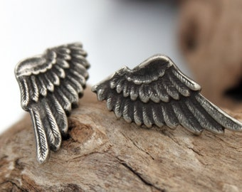 Angel wing earring studs- rustic steampunk stamped silver plated brass angel wing stud earrings with silver plated stud back