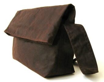 Waxed Canvas Shoulder Bag, Vegan Messenger, Waxed Canvas Messenger, Waxed Canvas Bag - The Brown Fold Top