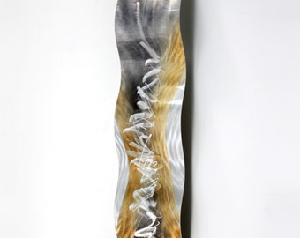 Gold/Silver Abstract Metal Wall Sculpture - Modern Metal Wall Art - Home Decor - Wall Accent - Perception of Energy Wave by Jon Allen