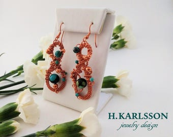 Copper wire weave earrings: TURQUOISE QUEEN COLLECTION