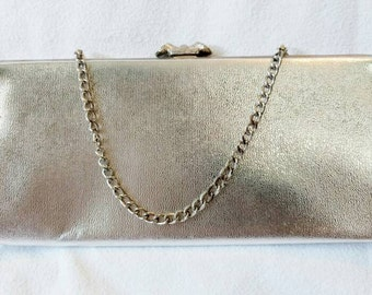 Elegant Silver Lamé Evening Bag