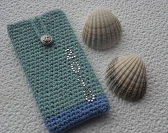 Blue LG G5 case moto G5 case iphone7  galaxy A5 cover huawei P10 sleeve crochet cover crochet phone case motoG5 case iphone SE HTC10