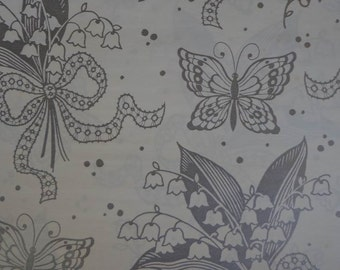 Vintage 1980s Wedding Gift Wrap Lillies of the Valley & Silver Butterflies-1 Sheet Wedding Wrapping Paper