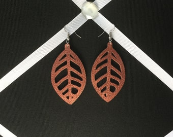 Faux Leather. Leaf Earrings
