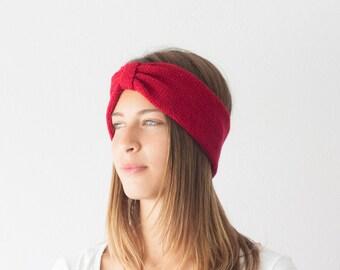 Sales Red Knit turban headband ribbed head wrap ear warmer hair accessory hand knit headband
