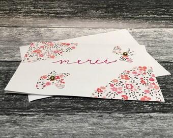 Floral Merci Thank You Card