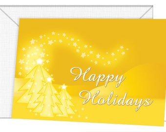 Personalized Holiday Trees and Stars in Gold Cards - Season's Greetings/Christmas/Seasons Greetings in Spanish and English