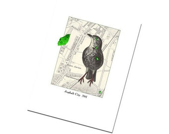 Greeting Card Handmade Bird Art Collage Retro Urban No.1