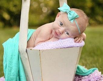 Boutique Aqua Tuxedo Bow Skinny Elastic Headband Infant/Toddler Hair Bow Bowband Aqua Baby Headband Aqua Baby Bow Aqua Headband