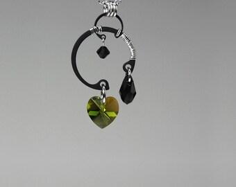Green Swarovski Crystal Pendant, Industrial Earrings, Olivine Swarovski Crystal, Wedding Jewelry, Wire Wrapped, Cosmic Ray v5
