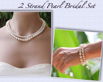 Pearl Necklace & Bracelet SET, Two Strand Pearl Set, Pearl Bridal Jewelry Set, Bracelet and Necklace Set, Wedding Jewelry Set