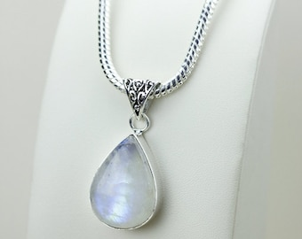 1.98 Inch Rainbow MOONSTONE 925 S0LID Sterling Silver Pendant + 4MM Snake Chain & Free Express Shipping p3108