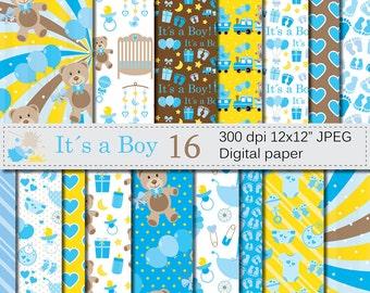 Its a Boy Digital Paper Set, Baby Boy Blue Digital Papers, Baby Shower Scrapbook Papers, Nursery Digital Paper, Instant Download