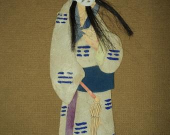Antique Chinese Immortal Applique Silk Clothing Ancestor Handmade 1920's Asian Costume Kimono with Facial Hair