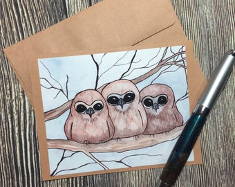 Owl Huddle Original Watercolor Print - Kraft Note Card