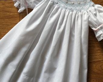 Infant, toddler, special occasion, baby girl hand smocked bishop dress - sz 6m