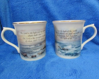 Vintage Lenox porcelain coffee mugs by Nicky Boehme - Psalm 27_1,  John 8_12 - The light in the mist collection - Set of two