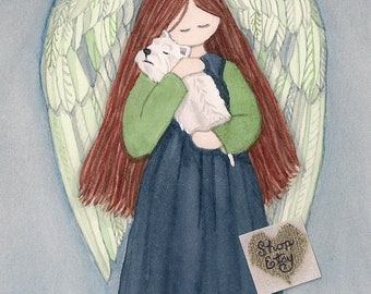 Angel in dark blue dress cradles West Highland Terrier (westie) / Lynch signed folk art print