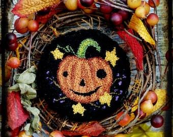 Halloween Jack Punchneedle Pattern PDF - needle punch floss fall pumpkin primitive prim