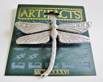 JJ Jonette Silver Pewter Dragonfly Brooch Pin