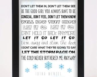 Idina Menzel - Let it go - Frozen - Pop and Indie Prints Typography Poster Print