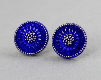 Royal Blue Sunflower - Czech glass button post earrings, repurposed jewelry, up-cycled jewelry
