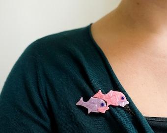 Lea Stein Brosche - Fisch - lila-Pink - doppelte Fisch Sicherheitsnadel - Lea Stein Paris