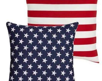 Outdoor American Flag Pillow Cover 18x18 20x20, Patriotic Pillow Stars Pillow, Navy Blue Pillow, July 4th Decor, Outdoor Pillows