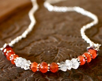 Fertility Necklace  with Blessing - Carnelian and Quartz Crystal