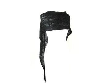 Shawl Boho Chic Long Knit Black Cape