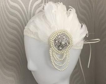Gatsby headpiece - Gatsby headband - feather headband - bridal feather headpiece - lace headpiece - wedding.