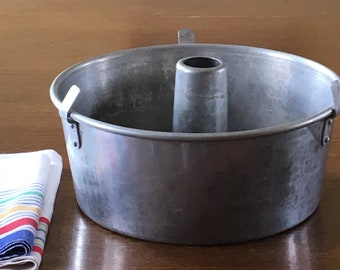 Wear Ever Aluminum Angel Food Cake Pan Tube Pan or Bunt Pan with Removable Cone Insert Made by Kewaskum Utensil Co Two Piece Cake Pan