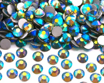 Blue Green AB Glass Rhinestones for Embellishments 2-6mm