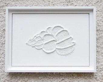 Seashell String Art - White Modern Abstract Textured Sea Themed Nautical Fiber Art Nautical Beach House Decor