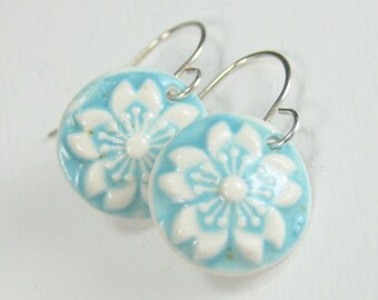 Ceramic Earring Light Blue and White Flower Porcelain Earrings with Hand Forged Sterling Silver Earwires