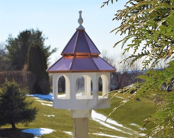 copper roof Bird Feeder Amish handmade handcrafted Double copper top X-Large 27 inches TALL
