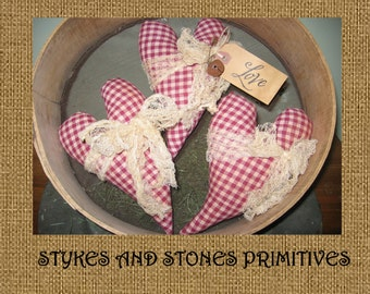 Primitive Folk Art Spring St. Valentine's Day Curved Hearts Ornies Bowl Fillers Mailed Paper Pattern
