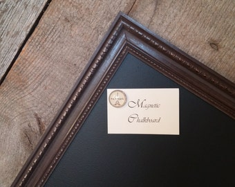 "LARGE Magnetic Chalkboard Distressed Chocolate Brown Vintage Style Frame Magnetic Board - 35 x 23"" Magnet Board - Rustic Framed Chalkboard"