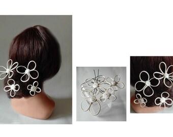 white bridal hair, bun flower, wedding, engagement hair jewelry hair stick pin