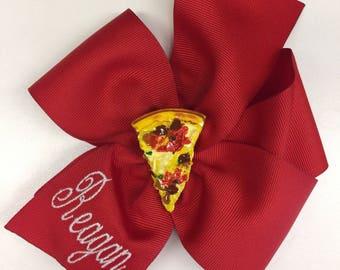 Monogrammed Name, Hair Bow, Pizza Party, Personalized Gift, Birthday Party, Hairbows, Large Unique Bows, Big Red Clips, Embroidered Letters