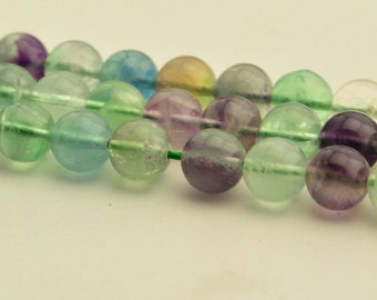 "15.5"" Natural Mix Color Fluorite Beads Fluorite Gemstone Round Beads 8mm 10mm"