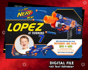 Nerf Invitation, Nerf Birthday, Nerf Party, Nerf Card, Nerf Invites, Nerf Printable, Nerf Invite, Nerf Digital Download, Nerf, F0103