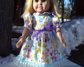 "18"" summer floral doll dress, polyester doll dress, lace trimmed dress, short sleeved summer doll dress, full skirt doll dress"