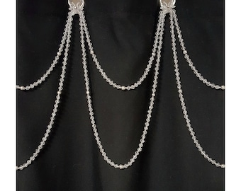 NEW: Crystal Cut Glass, or Poly Resin with Silver Accents Shower Curtain Beaded Accessory.. Hand Crafted to Order
