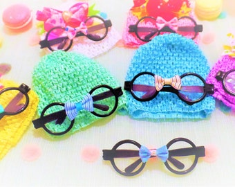 Sweet Lamb Clothing '2 Piece 'Pinkie-Bow' Children's Modified soft Beanie and Hipster glasses for Infants, baby, boys, girls